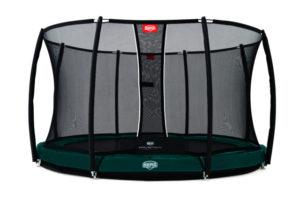 Berg Trampolin Inground Elite grün 330 mit Sicherheitsnetz T-Serie
